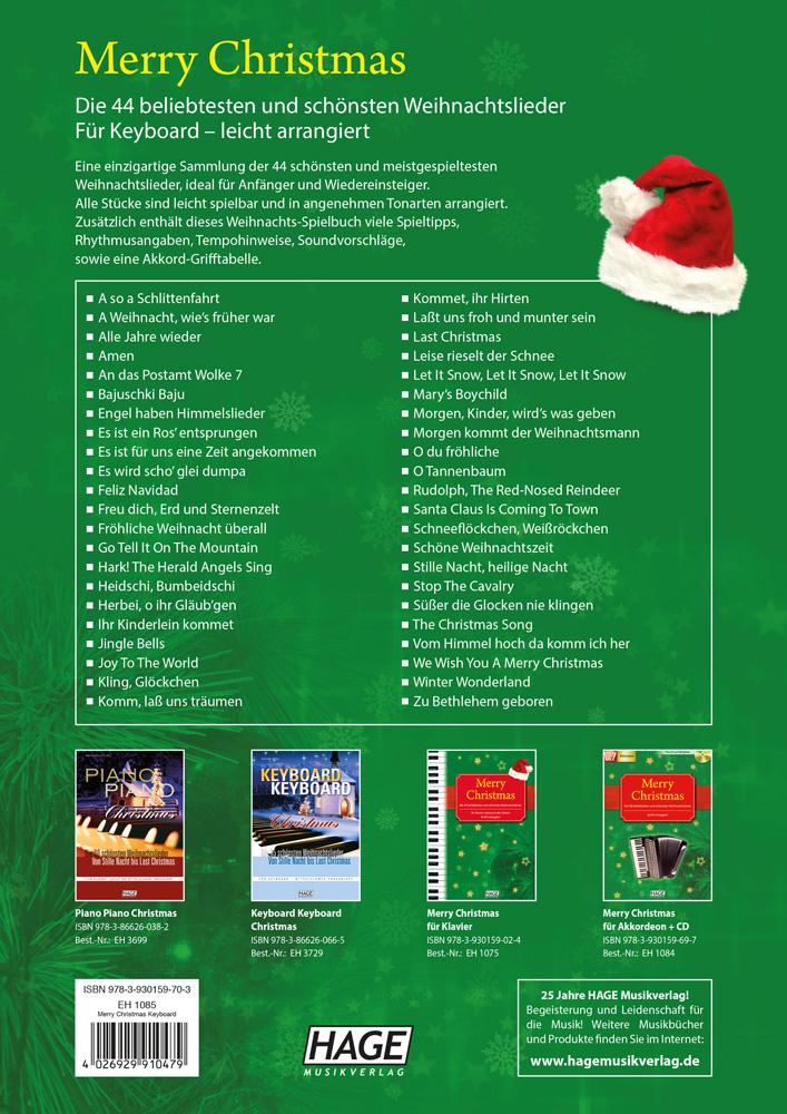 Keyboard Weihnachtslieder Anfänger.Merry Christmas Für Keyboard Hage Musikverlag
